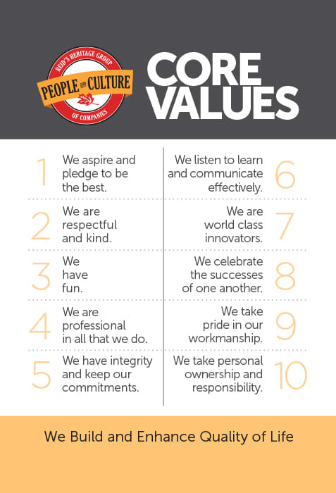 Core Values | Reid's Heritage Homes | Bungalows, Townhomes and Condominiums